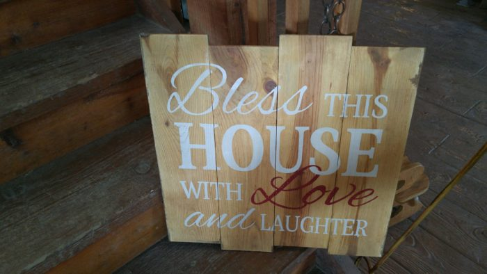 'Bless This House' Rustic Painted Pallet