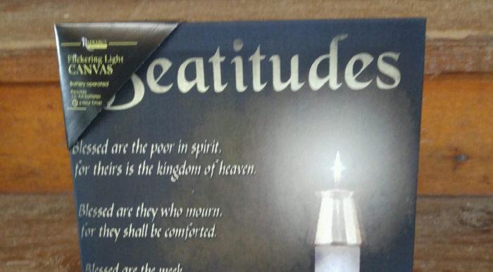 Lighted Canvas Beatitudes Wall Art Flickering Candle - Matthew Chapter 5, Christian Decor